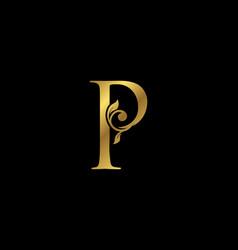 P letter floral gold logo classy drawn emblem vector
