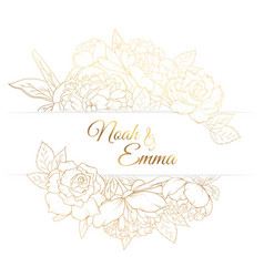 peony rose flowers frame golden wedding invitation vector image