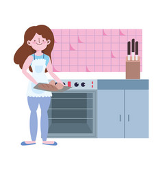 People cooking girl with bread in hands in the vector