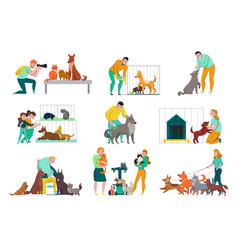 people with animals set vector image