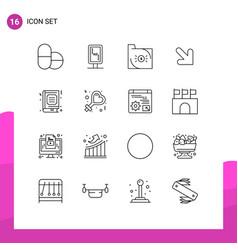 Pictograph set 16 simple outlines favorite vector