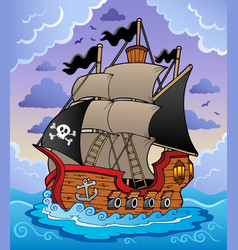 Pirate ship in stormy sea vector