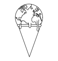 Planet earth melting icon vector