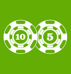 Poker chips nominal five and ten icon green vector