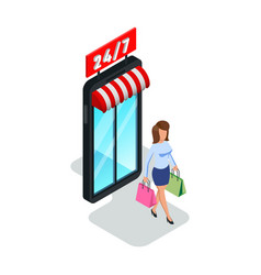 Pretty woman leaving shop store mall with paper vector