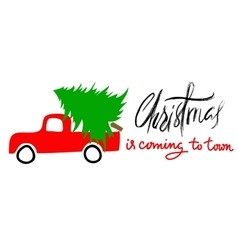 Red car carries Christmas spruce Christmas is vector