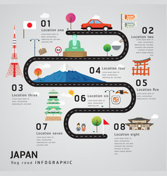 Road map and journey route timeline infographics vector