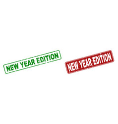 scratched new year edition rubber prints with vector image
