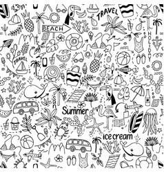 Seamless pattern with summer set of isolated cute vector