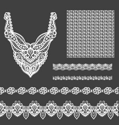 Set of decorative lace elements for design and vector