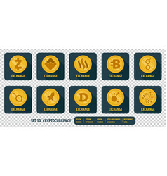 Set of different icons exchange cryptocurrency vector