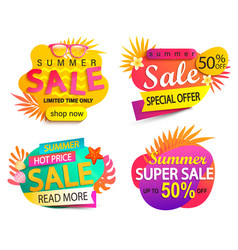 set summer sale and discount stickers vector image