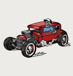 Skeleton driving red hot rod vector