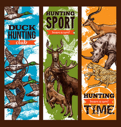 Sketch banners for hunting sport club vector