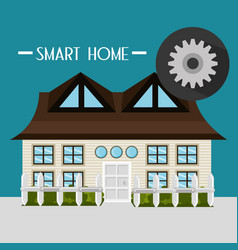 smart house with gear setup service vector image