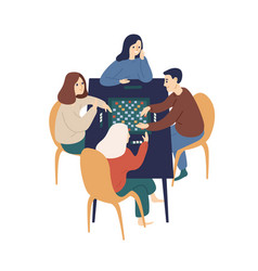 smiling family playing board game with chips vector image