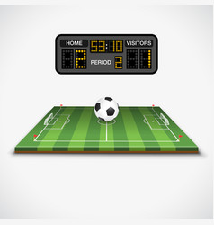 soccer field ball and scoreboard vector image