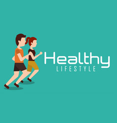 Sporty couple jogging healthy lifestyle banner vector