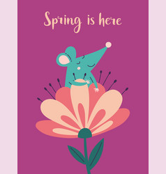 Spring is here greeting card with rat vector