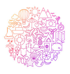 summer line icon circle design vector image