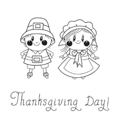 Thanksgiving Day children Pilgrim Couple vector