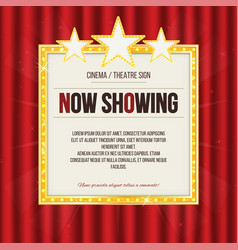 Theater sign or cinema sign with stars on red vector