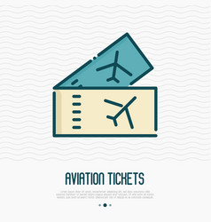 tickets for plane thin line icon boarding pass vector image