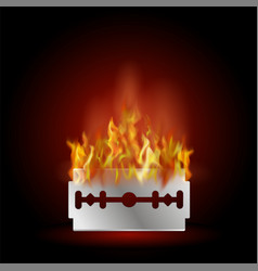 traditional double edge razor blade on fire tool vector image