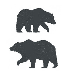Two bears silhouettes vector