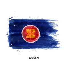 Watercolor painting flag asean vector