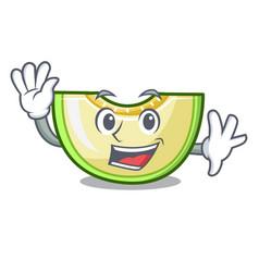 Waving fresh melon slice in the frezeer cartoon vector
