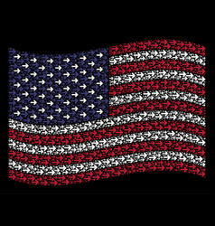 Waving united states flag stylization of right vector