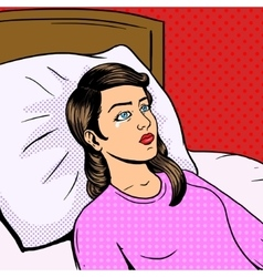 Woman cry on bed pop art style vector