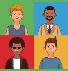 young mens cartoon vector image