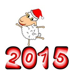 A funny Christmas cartoon sheep vector image vector image