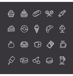 Bakery and Pastry Outline Icons Set vector image vector image