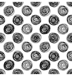 Black and white doodle circles seamless pattern vector image