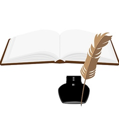 Book and inkwell vector image vector image