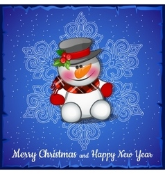 Cute snowman on background of snowflakes vector image vector image