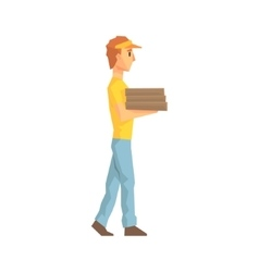 Guy Carrying Pile Of Pizza Boxes Delivery Company vector image