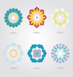 Mandalas icons set vector image