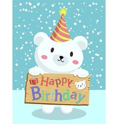 Birthday Polar Bear Cartoon vector image vector image