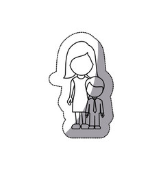 contour woman with her son vector image