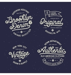 Denim typography t-shirt design set vector image
