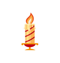 flat style burning candle christmas icon vector image