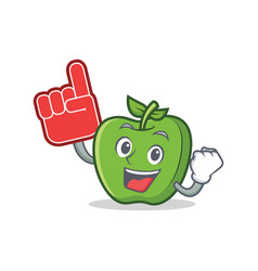 foam finger green apple character cartoon vector image