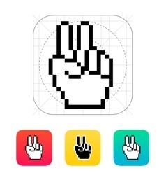 Pixel victory hand icon vector image