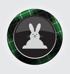 button green black tartan - smiling rabbit icon vector image vector image