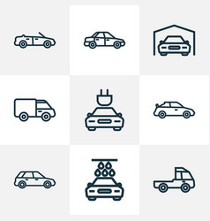 car icons line style set with plug cabriolet vector image