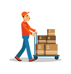 Delivery man carrying boxes on a hand truck vector
